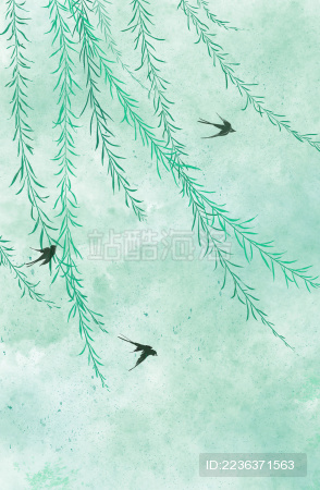 春天柳树燕子