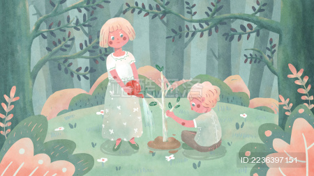 植树节环保绿色可爱两小人浇水种树草地山树丛花草插画