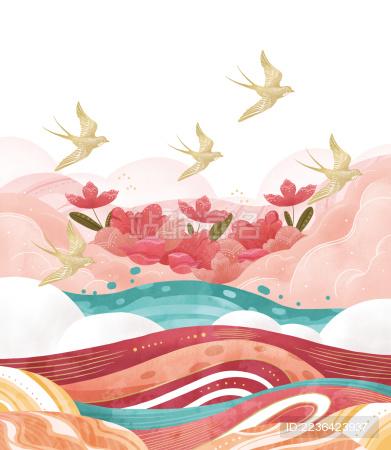 春天燕子和云朵