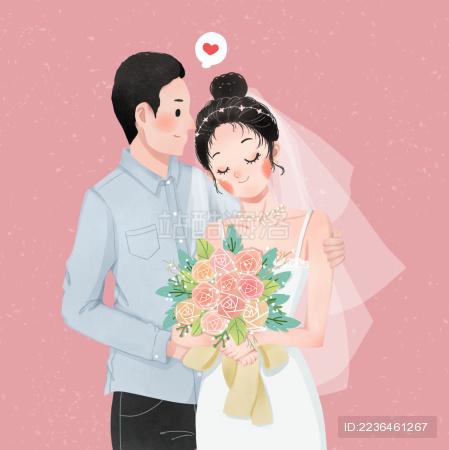 卡通婚纱新娘新郎浪漫婚礼