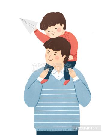 坐在爸爸肩膀上的小男孩