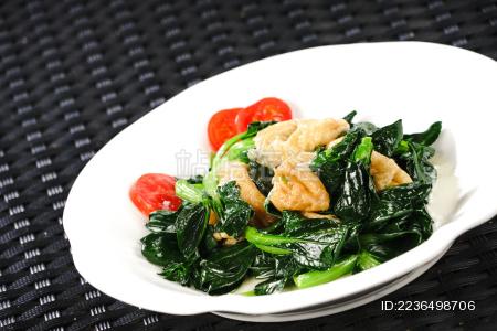 时令蔬菜无锡油面筋清炒小油菜