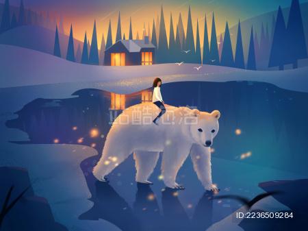 夜晚小女孩骑着白熊行走在冰面上