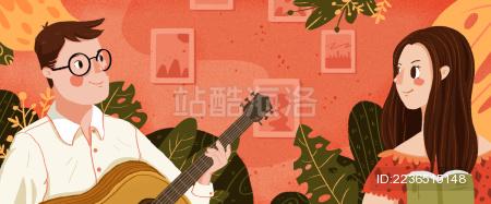 弹着吉他的男人