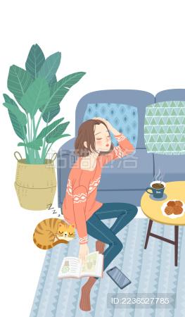倚靠沙发休息的少女