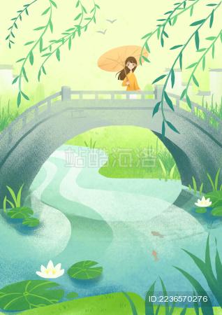 小桥上的少女