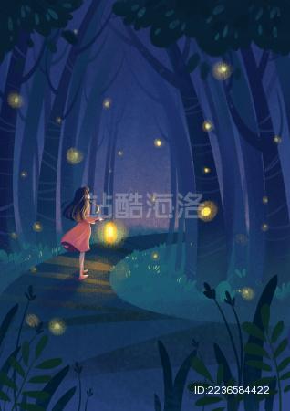 夏天夜晚的萤火虫