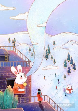冬天里的兔子和雪景