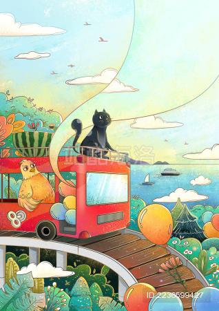 坐着观光车的猫和鸡