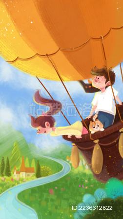 年轻情侣与可爱猫咪坐热气球旅行