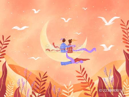 粉色飞鸟植物月亮七夕相会插画