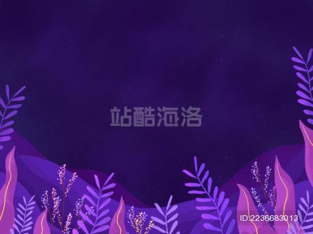 紫色夜晚植物图形背景插画