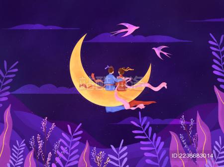 紫色夜晚月亮七夕相会插画
