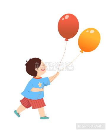 矢量儿童节人物手拿气球插画