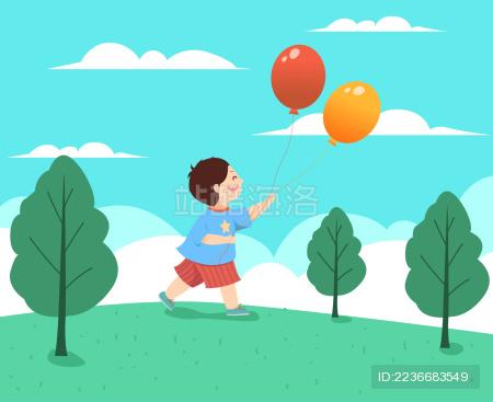矢量儿童节男孩手拿气球插画