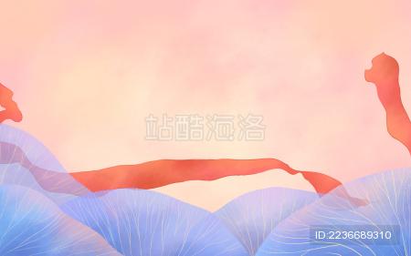粉色背景红色丝带蓝色叶子背景插画