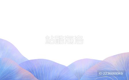 淡蓝色植物叶子组合插画素材