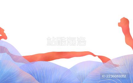 蓝色植物叶子红色丝带插画图素