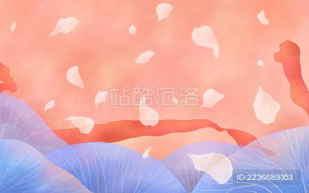粉色背景红色丝带蓝色叶子花瓣背景插画