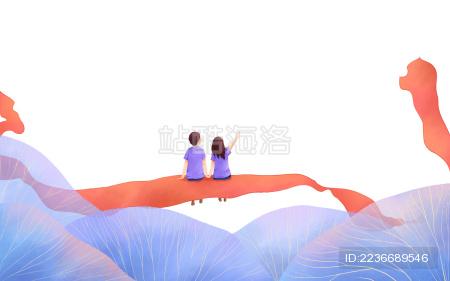 情人节红丝带蓝植物情侣人物插画图素