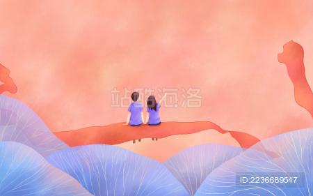 情人节红丝带蓝色植物情侣人物插画