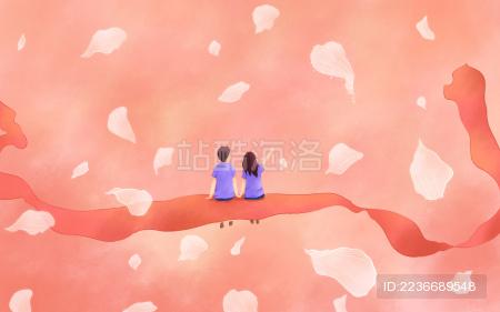 情人节粉红丝带花瓣情侣人物插画