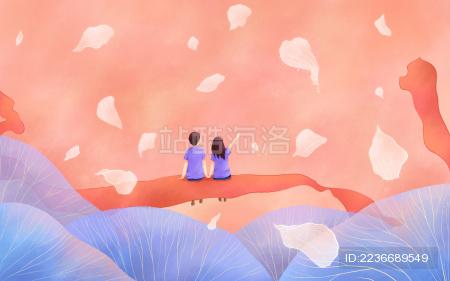 情人节红丝带花瓣蓝色植物情侣人物插画