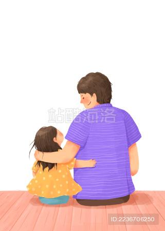 爸爸女儿开心在一起的父亲节插画人物图素
