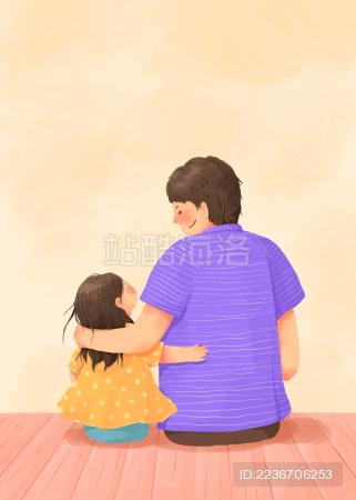 爸爸女儿开心在一起的父亲节插画