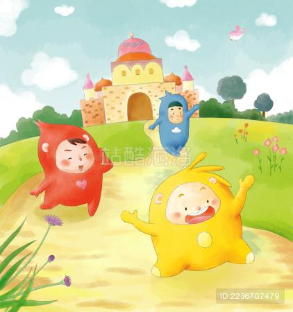 儿童节手绘卡通可爱开心水彩精灵