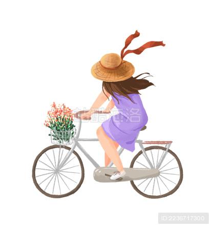 骑自行车的女孩插画人物图素