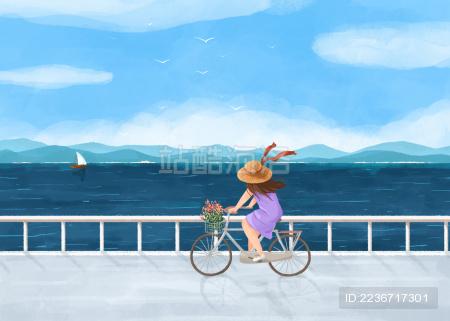 夏日海边骑自行车的女孩插画