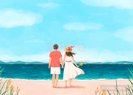 海边沙滩一起度假的情侣插画白裙子植物