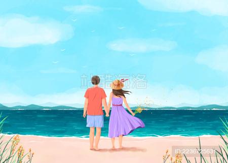 海边沙滩一起度假的情侣插画紫裙子