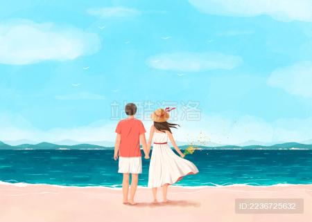 海边沙滩一起度假的情侣插画白裙子