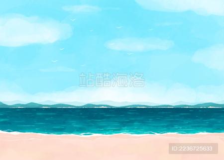 海边沙滩天空背景插画图素