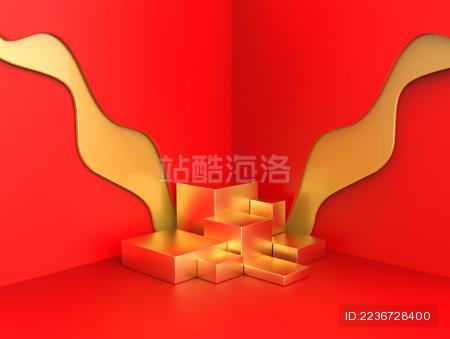 红金色立体模型展示台/海报素材