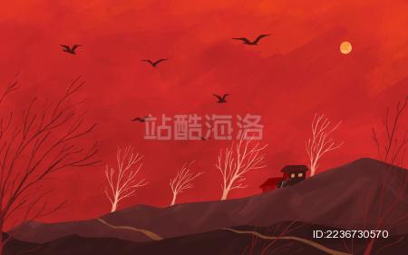 红色天空下树林山后的房子设计插画