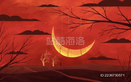 红色夜晚月下站着人梦幻背景插画
