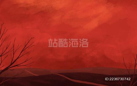 红色山坡小路和树梦幻背景插画