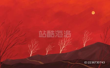 红色山坡小路与树林背景插画