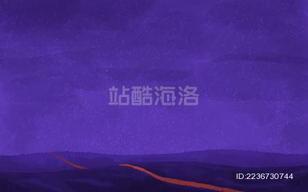 紫色夜晚山坡小路梦幻背景素材插画