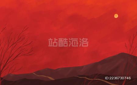 红色山坡小路树枝场景背景插画