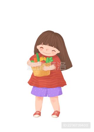 抱着蔬菜开心的女孩儿童插画素材