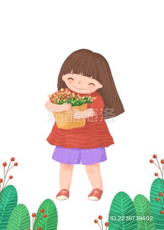 抱着鲜花开心的女孩儿童插画白底