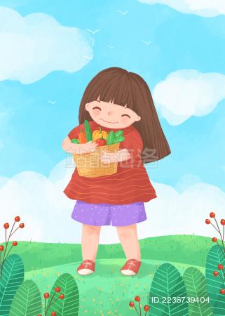 抱着蔬菜开心的女孩儿童插画