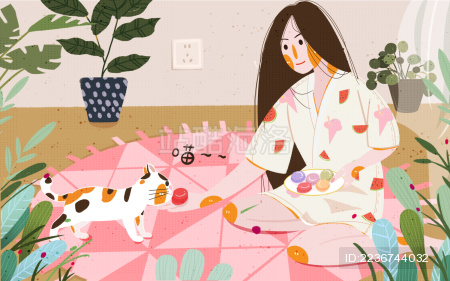 小清新居家生活撸猫喂猫吃马卡龙的女孩插画