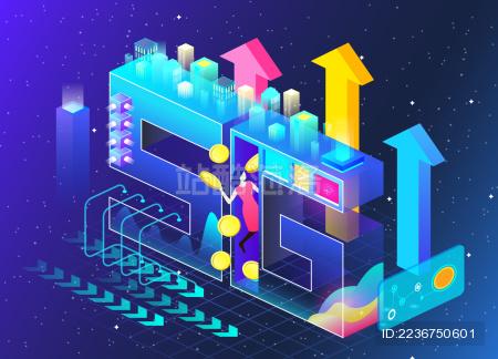 5G手机电信网络科技2.5d插画