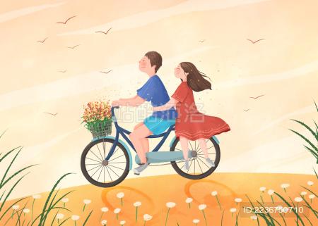 田野上骑车的情侣甜美插画横版