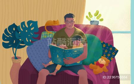 早晨的光芒中女儿和父亲在植物环绕的沙发上看书
